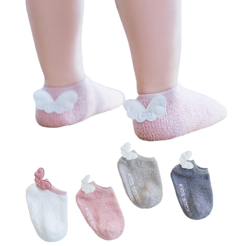 2019 Newborn Baby Socks Angel Wings Infant Baby Boys Anti Slip Socks For Girls 1st Birthday Party Clothes