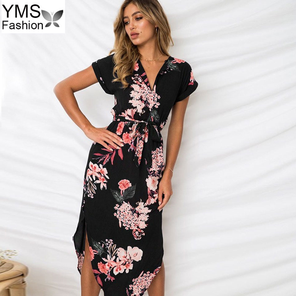 474e139c54 Long Bohemian Women Summer Dress 2018 Vintage Floral Beach Dresses And  Sundress Black Party Dress Robe