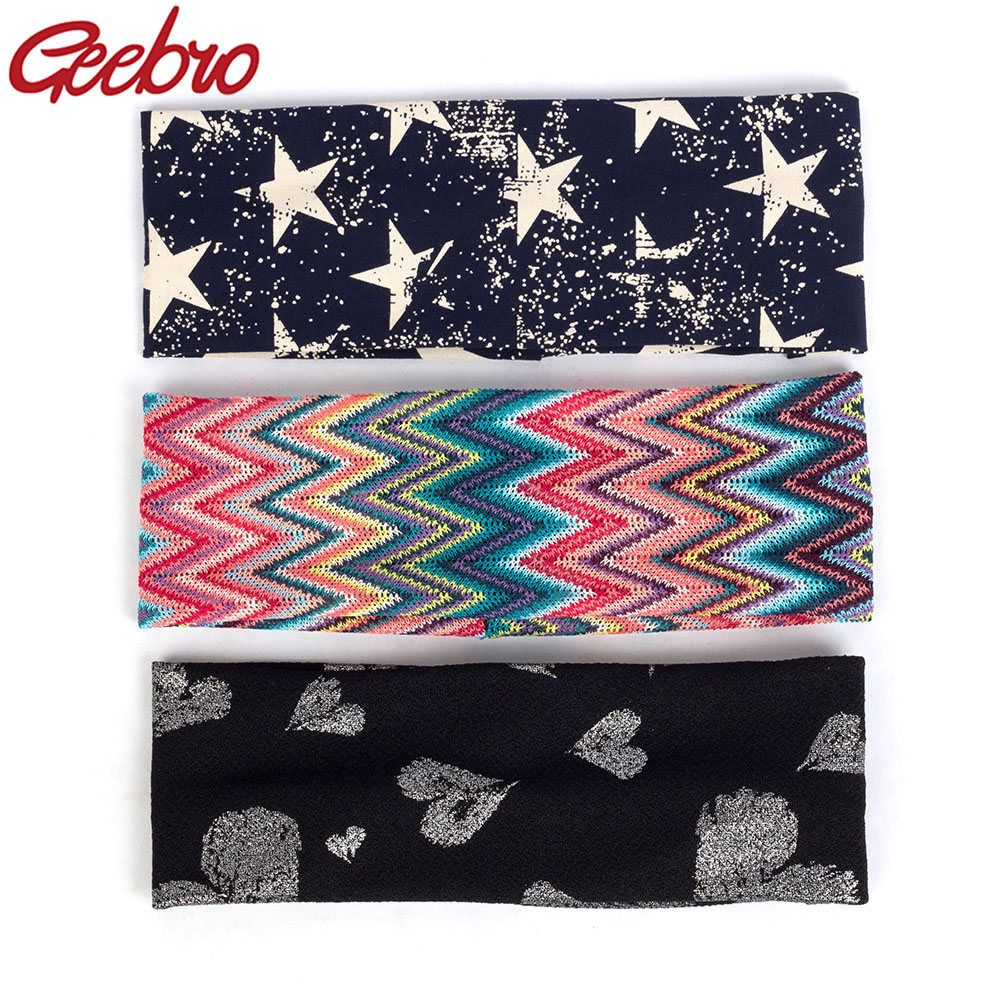 Geebro Fashion Bohemia Hairband For Women Female Flat Headband Vintage Colorful Print Elastic Bands   Headwear   Hair Accessories