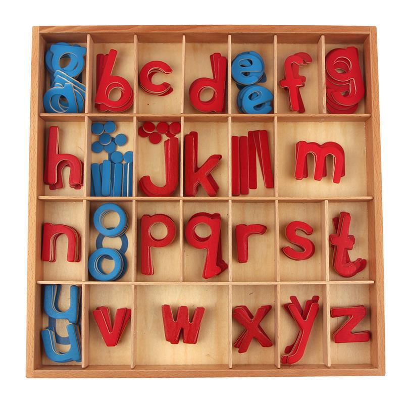 Giocattolo del bambino di Legno Montessori Piccolo Mobile Alfabeto Rosso e Blu con la Scatola In Età Prescolare Precoce Bambino Brinquedos Juguetes