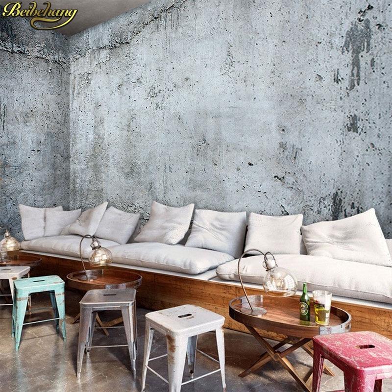 Купить с кэшбэком beibehang wallpaper Vintage cement wall painting cafe tea shop casual bar decoration background wall paper papel de parede