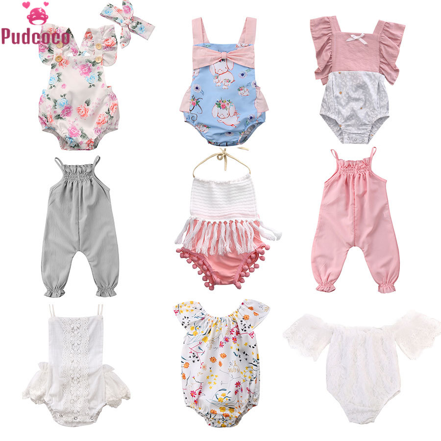 9 Styles Pudcoco Summer Newborn Clothes Infant Baby Girl Romper Floral Jumpsuit With Tassel Baby Summer Onesie