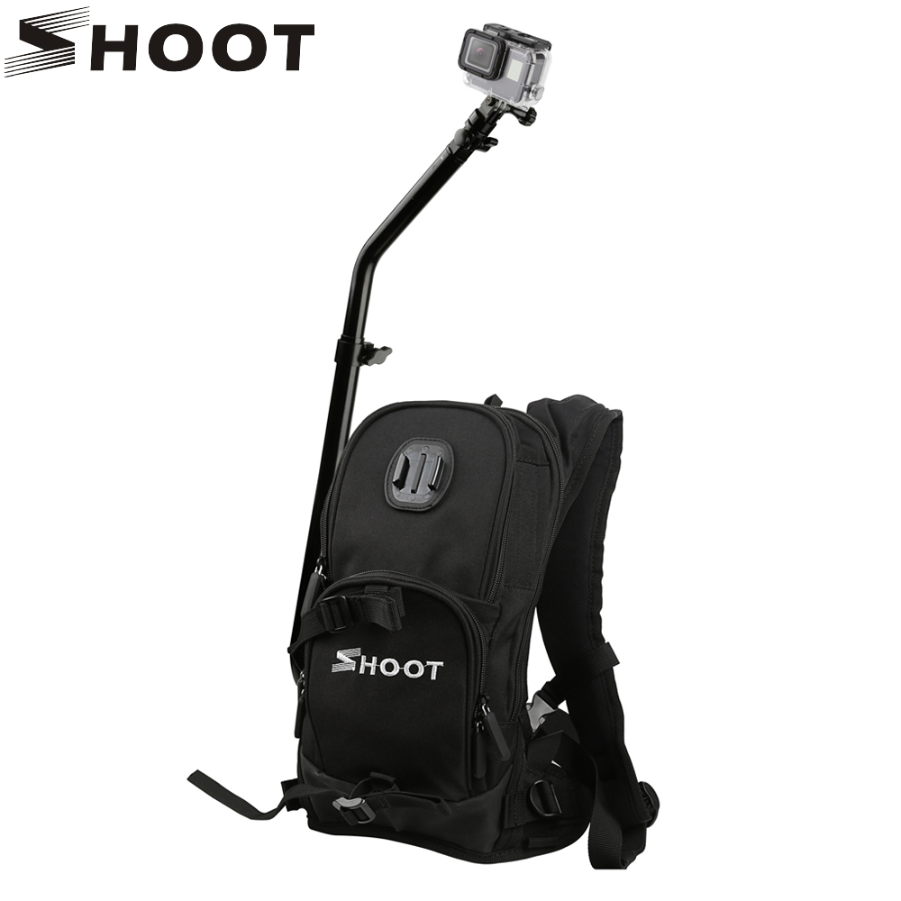 SHOOT Motorcycle Bicycle Selfie Backpack for GoPro Hero 6 5 4 Session Yi 4K SJCAM SJ4000 H9 Action Camera with Tripod Pole Stick aluminum monopod selfie accessories set kit for gopro hero 5 sjcam sj4000 action camera chest head hand mount bag for sjcam