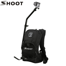 SHOOT Motorcycle Bicycle Selfie Backpack for GoPro Hero 6 5 4 Session Yi 4K SJCAM SJ4000 H9 Action Camera with Tripod Pole Stick