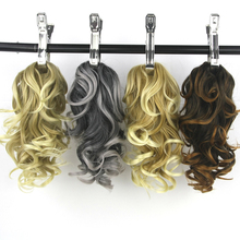 Soowee 8 Color Curly Black to Gray High Temperature Fiber Little Pony Tail Hairpiece Synthetic Hair Extensions Claw Ponytail