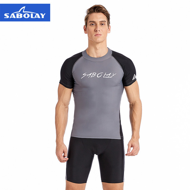 e80ec9c490 SABOLAY Rashguard Men Short Sleeve Lycra Dry Swimsuit Surf Sunscreen Rash  Guard Beach UV Protection Swimwear Shirt Short Trunk L