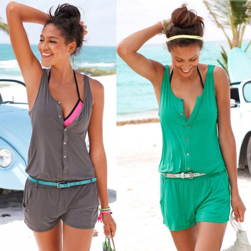Пикантные Для женщин летние пляжные hobemian партии эластичный пояс комбинезон ползунки короткие Cover Up