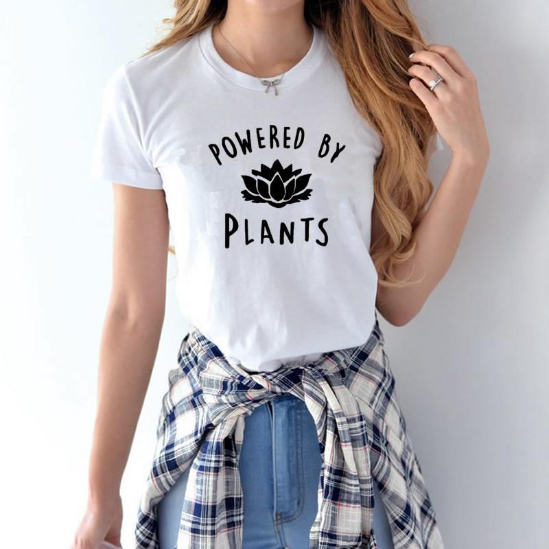 2018 vegetarisch Vegan ANGETRIEBEN DURCH PFLANZEN Mode T-shirt für frauen Harajuku Tumblr Nette Tumblr Femme Lustige Weibliche T-shirt Tops