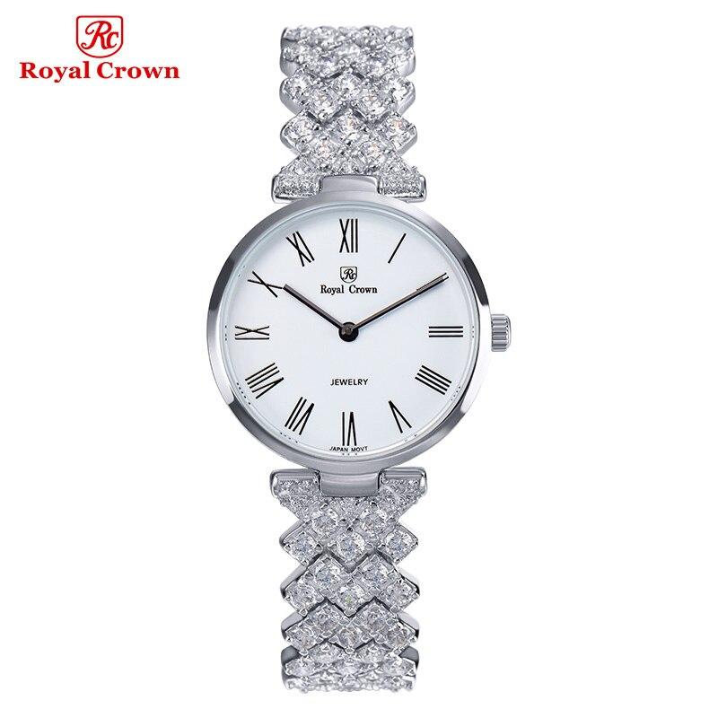 Ultra Thin Luxury Jewelry Lady Women's Watch Fashion Hours Dress Bracelet Rhinestone Gold Plated Girl Gift Royal Crown Box