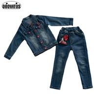 2018 New Arrival Girls Clothing Set Spring Autumn Children Girl Cartoon Paillette Jeans Pants Jacket 2Pcs