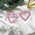 UJBOX розовые большие искусственные ацетатные акриловые Висячие серьги для женщин, Япония, Корея, висячие серьги в форме сердца, оптовая прода...