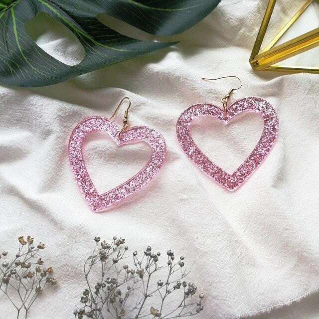 UJBOX розовый большой Геометрия Круглый ацетат акриловые серьги для Для женщин Японии Корея Сердце Длинные Висячие серьги оптовая продажа E136