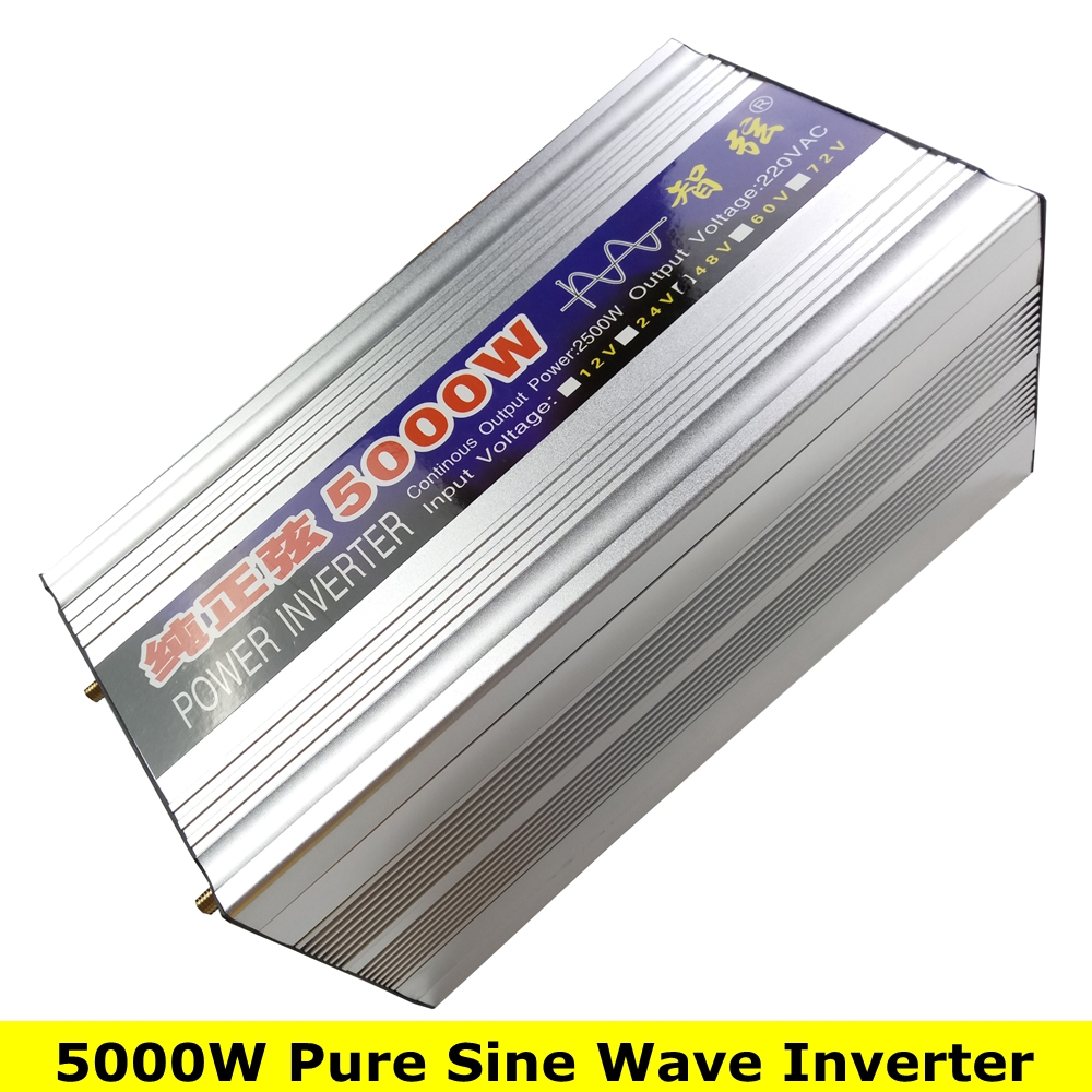 цена на Peak Power 5000W Pure Sine Wave OFF Grid Inverter DC12V/24V to AC220V 50HZ/60HZ Converter Solar power inverter with Dual Display