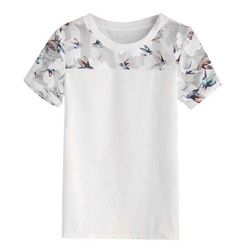 Women Fashion Simple Short Sleeves T-Shirts Summer Novel O Neck Tops