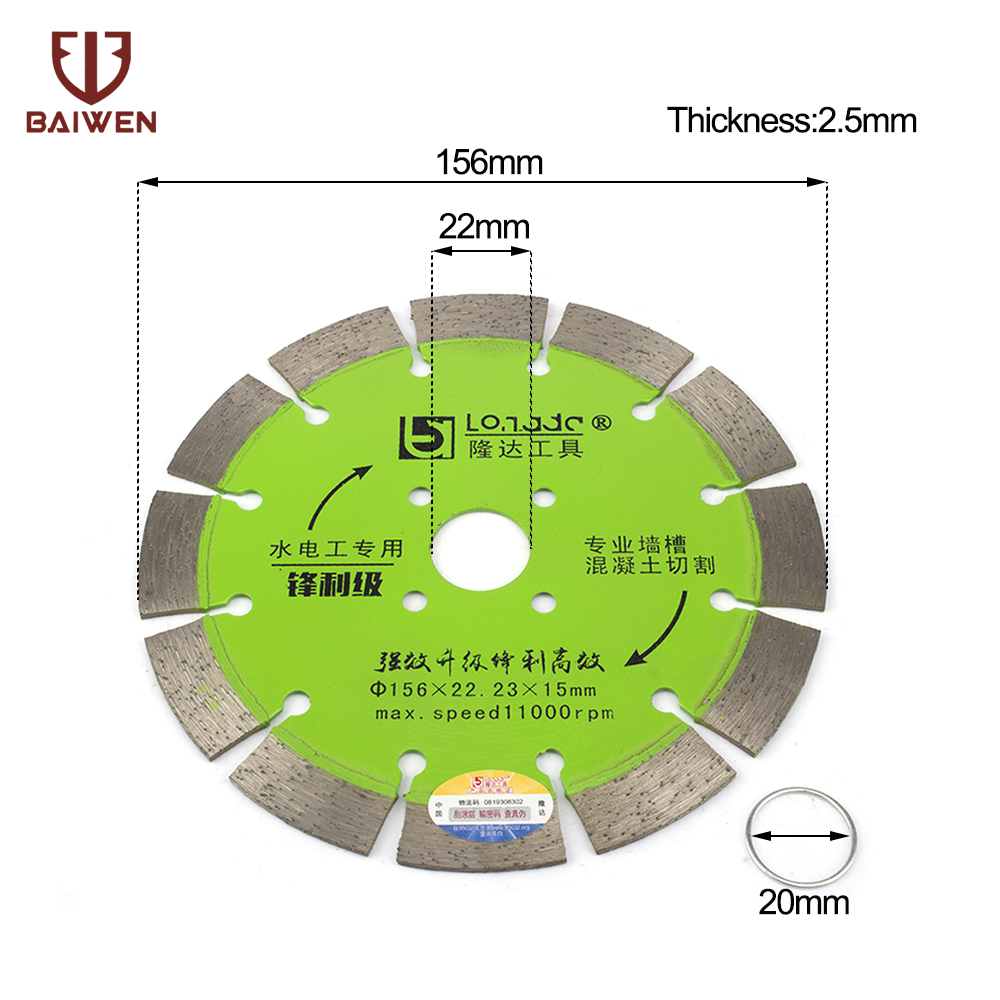 Diamond Saws Blade  155mm  Hot Pressed Sintered Mesh Turbo Cutting Disc For Granite Marble Tile Ceramic