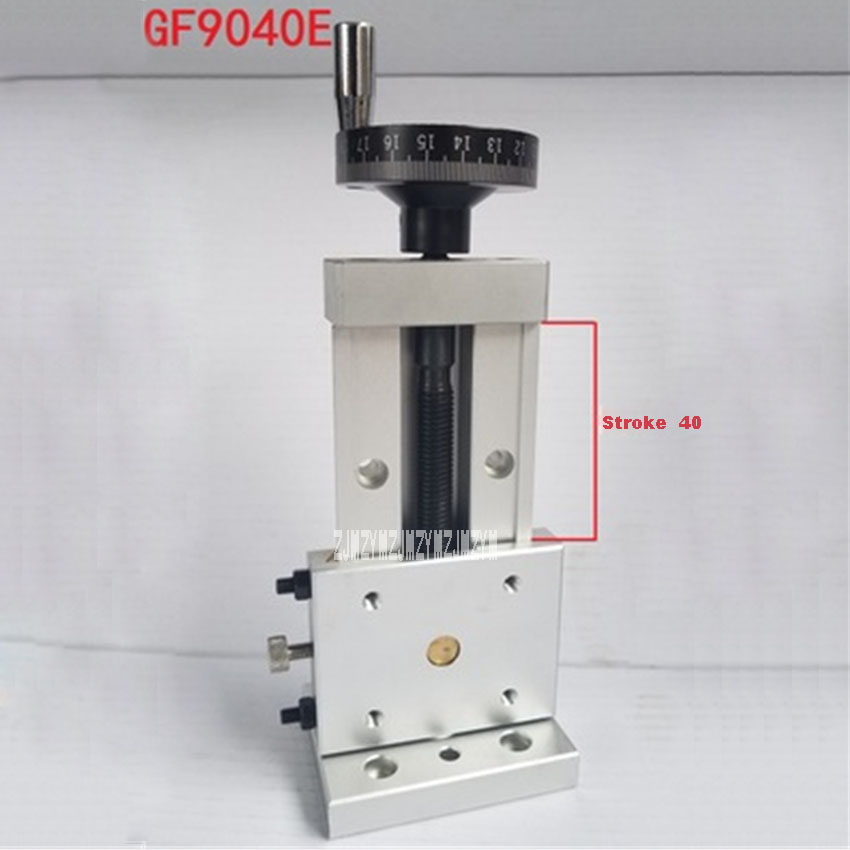 GF9040E Precision Vertical Slide Table Screw Carriage Z Axis Linear Dovetail One-Dimensional Sliding Table  Wide 90 Stroke 40MM