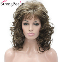 StrongBeauty Long Curly Burgundy Wigs Women Synthetic Blond Hair