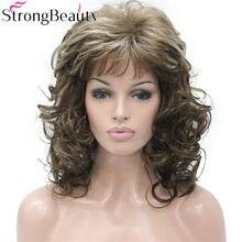 Strongbeauty longo encaracolado borgonha perucas femininas cabelo loiro sintético
