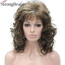 StrongBeauty Uzun Kıvırcık Bordo Peruk Kadınlar Sentetik sarı saç