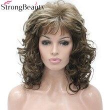 StrongBeauty rizado largo pelucas Burdeos mujeres pelo rubio sintético