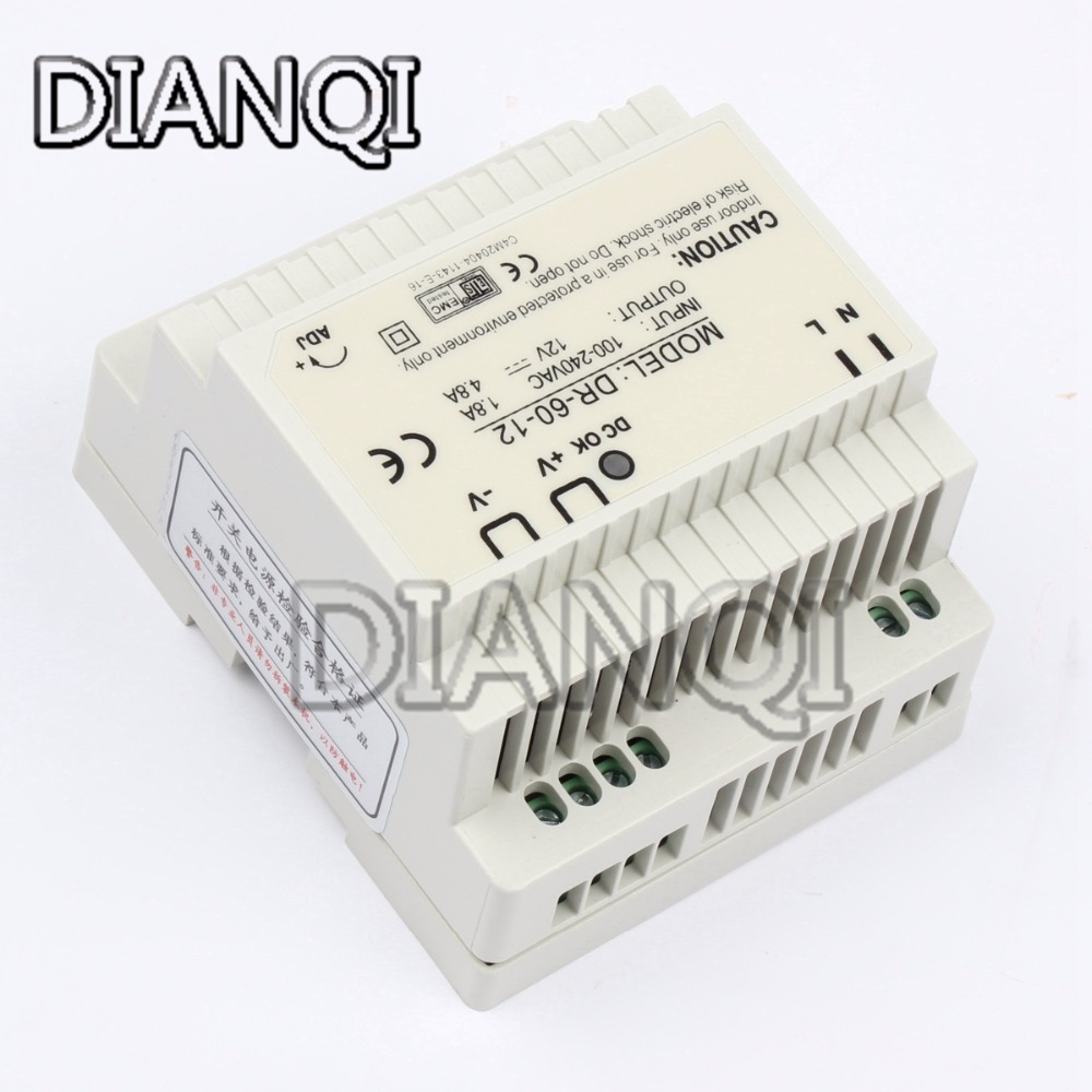 DIANQI Din rail power supply 60w 12V ac dc converter dr-60-12  power suply 12v 60w good quality