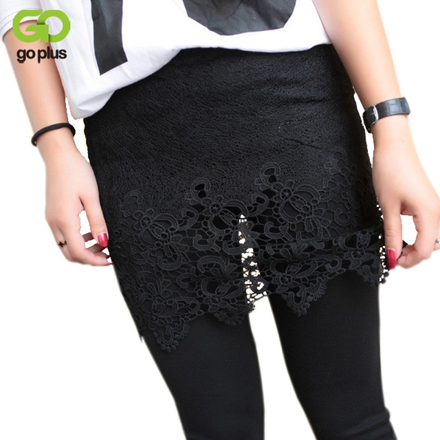 GOPLUS Women Legging Autumn Winter White Black Warm Leggings Fashion Women's Lace Mini Skirt Legging Pants False Two Piece C3167