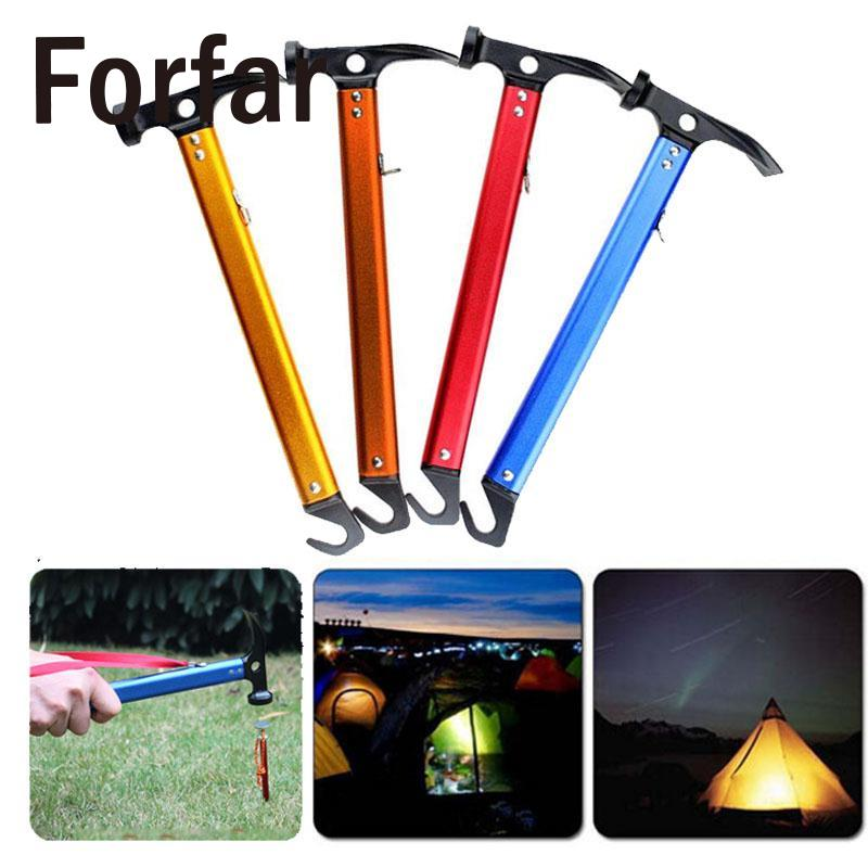 Forfar Outdoor Hiking Camping <font><b>Tent</b></font> Aluminum Alloy Pegs Nail Stakes Hammer Mallet Tool