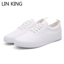 LIN KING Fashion Men Vulcanized Shoes Male Lace Up Sneakers Breathable Low Top Casual Student Height Increase Canvas