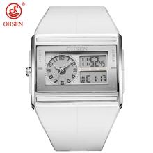 OHSEN Brand Digital Quartz Mens Fashion Sport Watch Wristwatch Dual Time Display 30M Waterproof Rubber Band White LCD Male clock
