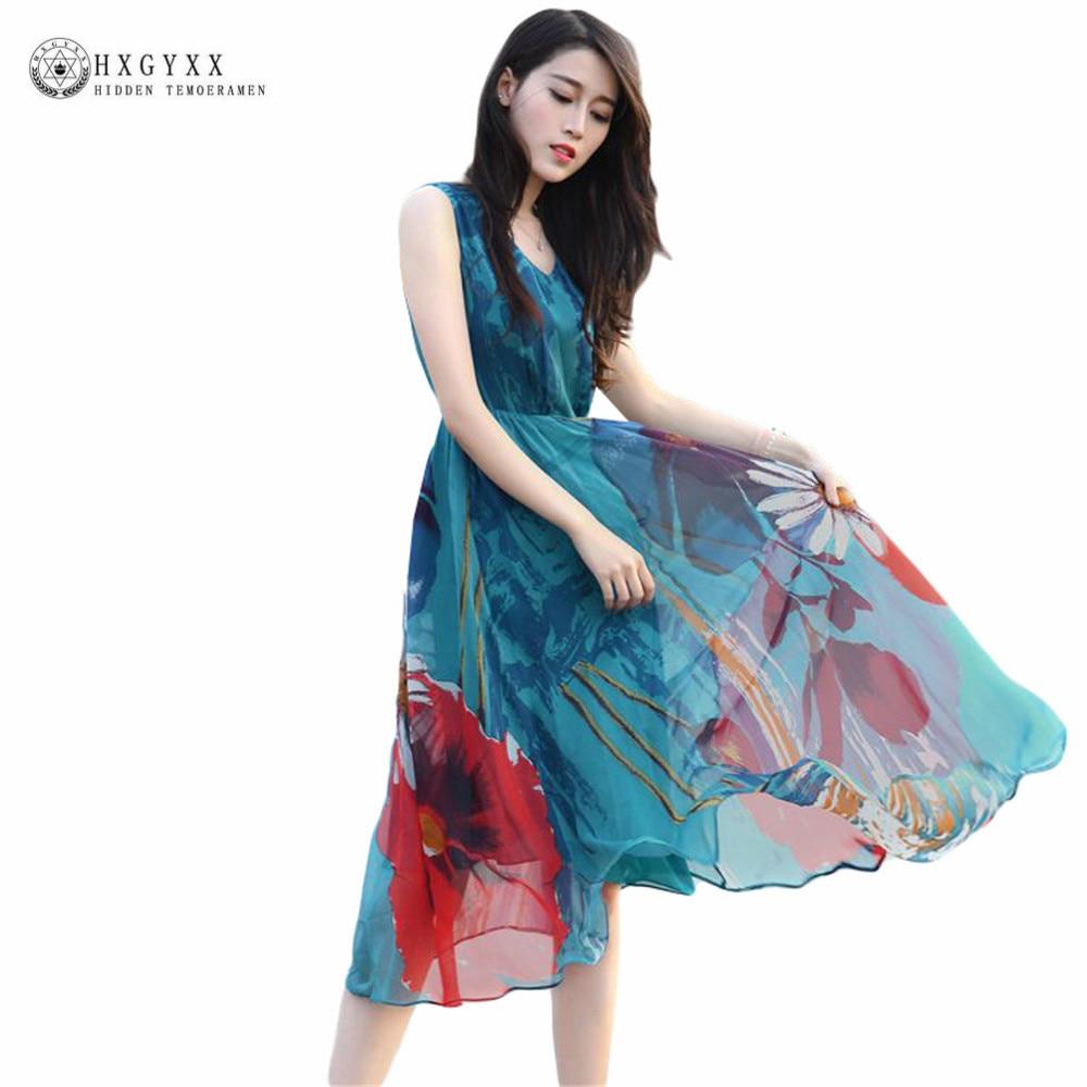 06a59248532 2019 Womens Summer Elegant Beach Clothing Bohemian Print Medium Long Party Dress  Plus Size Slim Sea