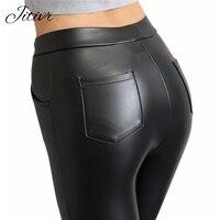 2016 Women Winter Women Leggings Faux Leather High Waist Female And Slim Leggings High Elasticity Sexy
