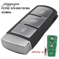 Jingyuqin 3 Nút Entry Fob 3C0 959 752 BA/AD Từ Xa Car Key Shell Trường Hợp 433 Mhz đối với VW Passat CC Chìa Khóa Xe Điều Khiển thay th