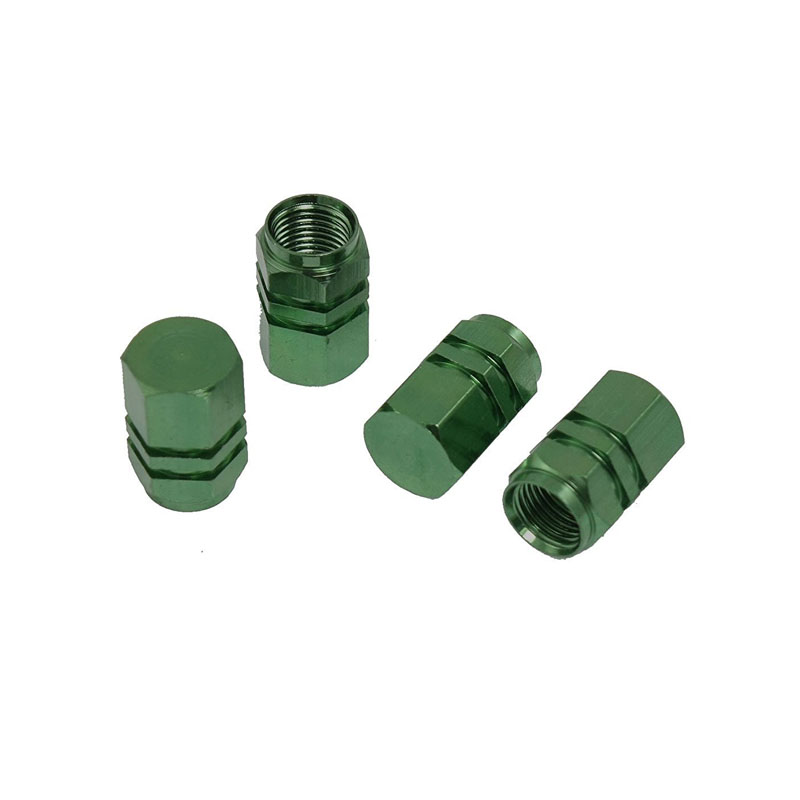 ZYHW Brand Car Auto Hexagon Tyre Tire Valve Stems Caps Cover Green 4 Pcs