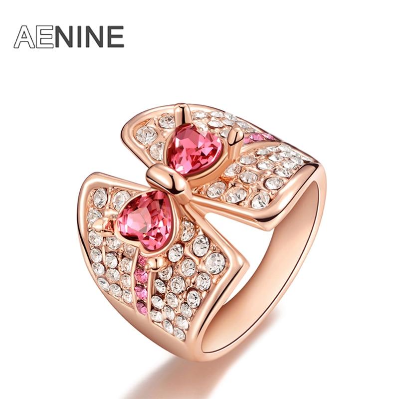 aenine original modelo anillos zirconia cbico de color rosa arconudo de la boda anillos