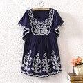 Venta caliente de gran tamaño de las mujeres ropa de verano étnico bordado de la flor suelta camisa de algodón blusa hippie mexican dress mujer