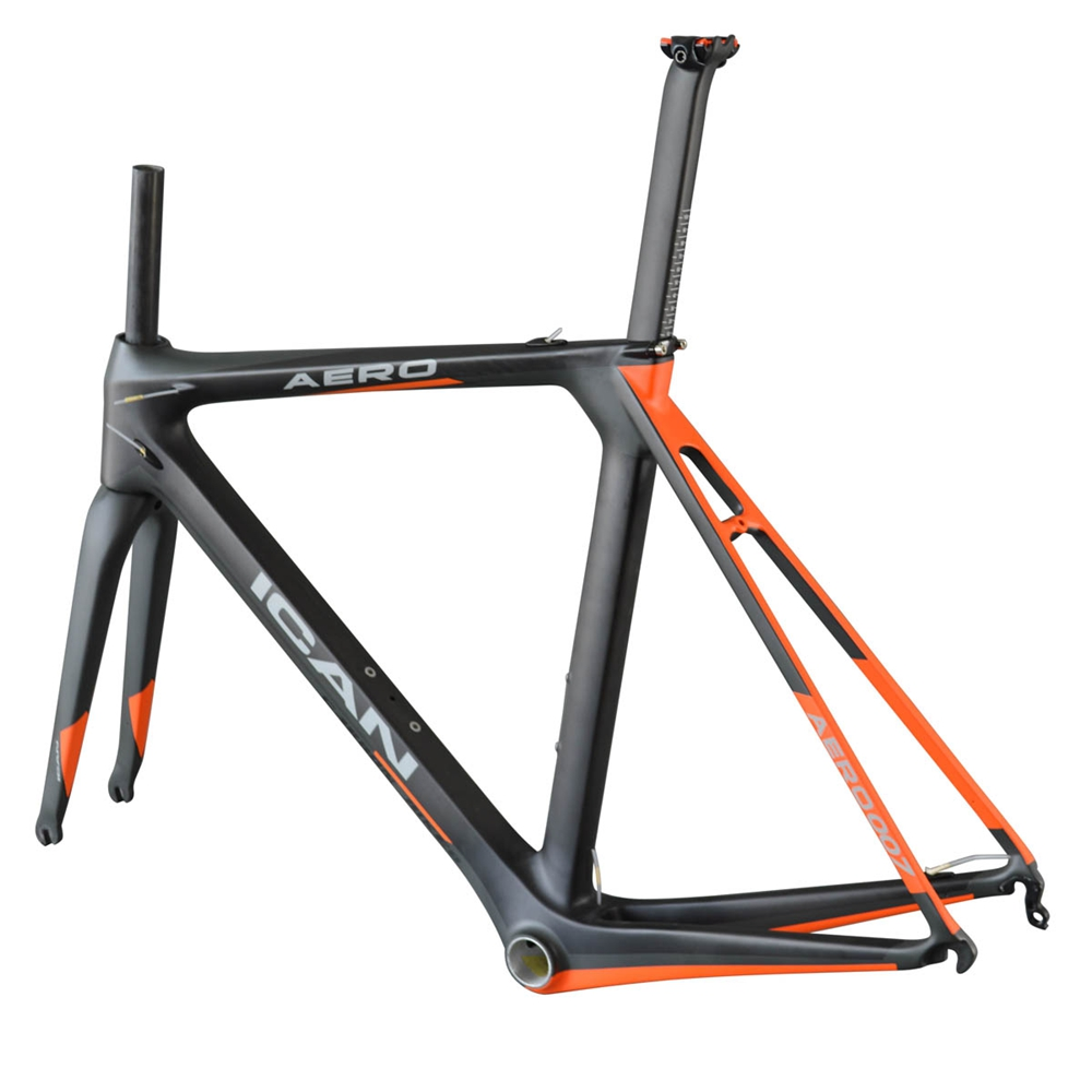 ICANBikes aero dynamic carbon road frame1050g,UD-matt,BB86 and DI2 carbon road bike frame A7with painting og evkin carbon road bike aero frame with integrated handlebar bicycle cycling sports parts bb86 di2 max 25mm tire glossy matt