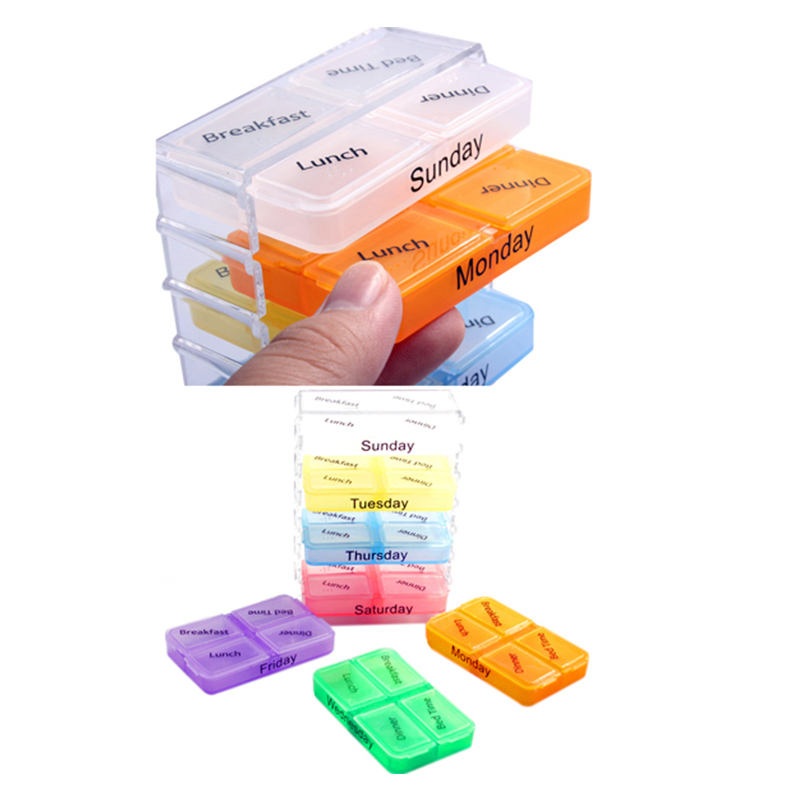 Newly Medicine Weekly Storage pillbox 7 Day Tablet Sorter medicine Box Container Case Organizer pill cutter