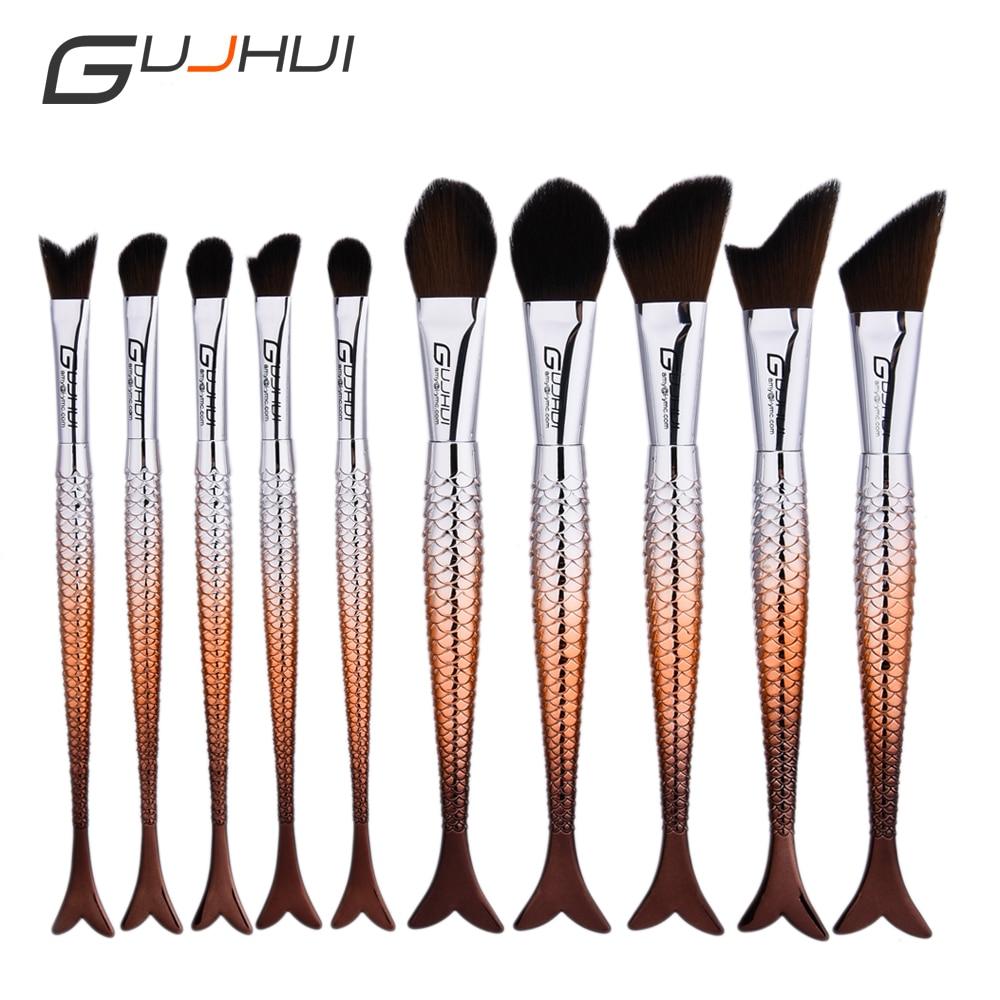 Mermaid Makeup Brushes 10 pcs Professional Silver bright color Powder Eyeshadow Makeup Brush kits  Fish tail brushes with Bag