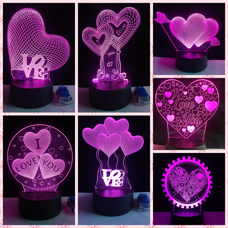 2018 I LOVE YOU Sweet Lover Heart Balloons 3D LED USB Lamp Romantic Wedding Room Decoration Colorful Night Light Girlfriend Gift i love you love heart shaped keychain red