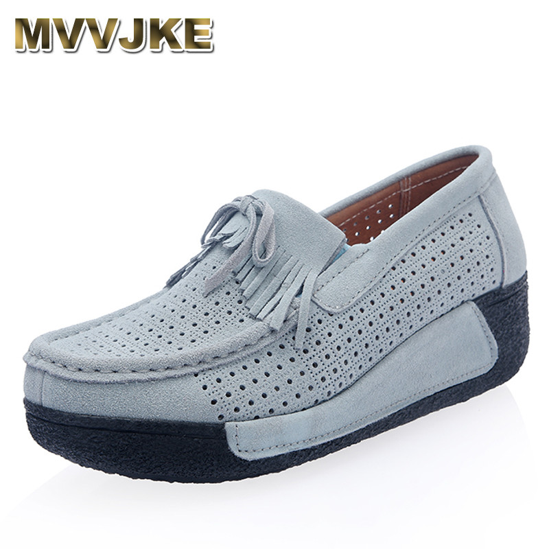 MVVJKE Women Flat Platform Loafers Ladies   Suede     Leather   Moccasins Fringe Shoes Slip On Tassel Women's Casual Shoes