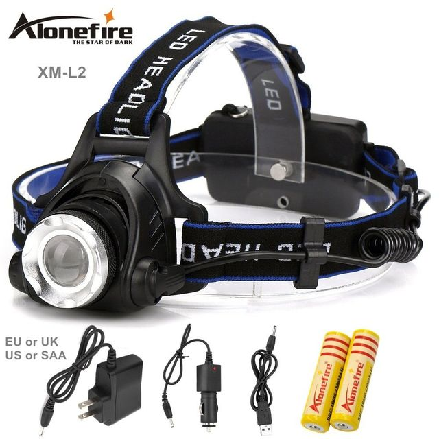 AloneFire HP79 2200LM Headlamp CREE L2 LED Headlight Flashlight Frontal Lantern Zoomable Head Torch Light Bike Riding Lamp
