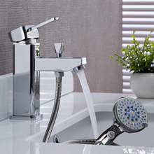 BALA;A Luxury Brass Washbasin Faucet, Hot & Cold Water Mixer, With Hand Shower and Hose, Free Shipping