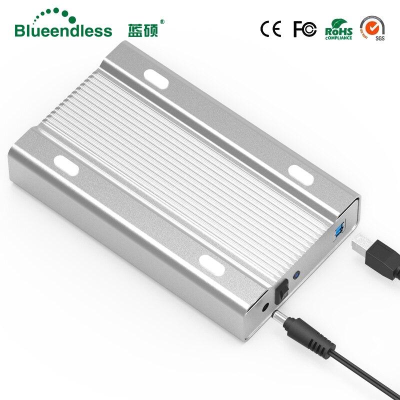 Blueendless 3,5 zoll alle-metall hdd fall mobile festplatte box USB 3.0 sata 5 gbps festplatte SATA hdd gehäuse aluminium shell