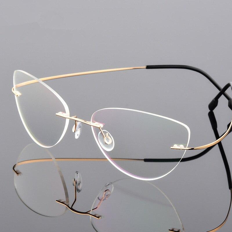 Cat Eye Style Ultra-light Memory Titanium Alloy Wired Rimless Myopia Eyeglasses Optical Glasses Frame Men Women Eyewear