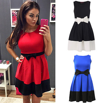 a5e2a5112f35 Women Ladies Contrast Panel Bow Detail Flared Skater Dress Size 6 8 10 12  14-in Dresses from Women s Clothing on Aliexpress.com