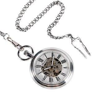 Image 2 - SHUHANG nowy zegarek mechaniczny 2017 mężczyźni automatyczny samonakręcający kieszonkowy zegarek srebrny prosty otwarty łańcuszek wisiorek z z cyframi rzymskimi