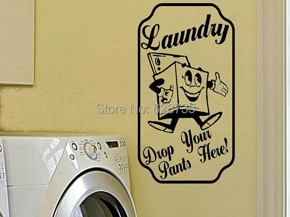 Free Shipping Laundry Room Wall Decal Drop Your Pants Here Retro Vintage Sign Vinyl Wall Stickers Laundry Room Decor R2012