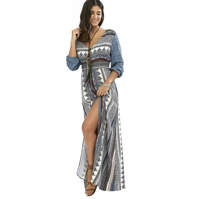 042ab8664bf New European Fashion V-neck Long Bohemian Dress Romantic Print Light Gray  Summer Dress Women Maxi Dress