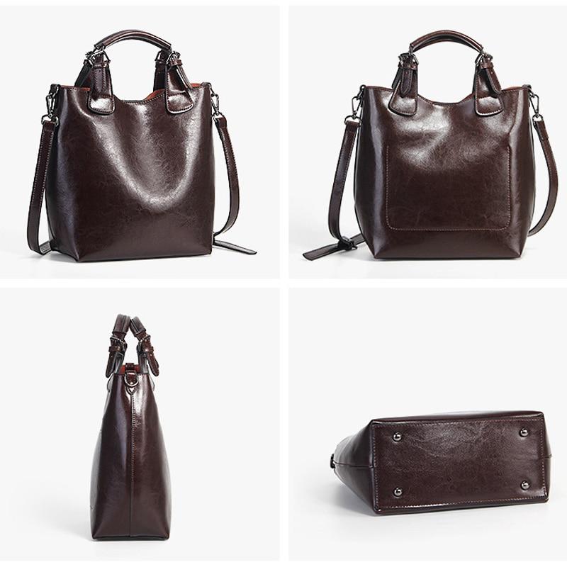 Zency 100% Genuine Leather Handbag Retro Coffee Women Casual Tote Bucket Bag Classic Black Lady Crossbody Messenger Purse