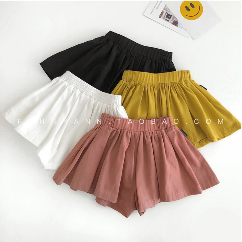 Girls   Shorts   Casual Beach   Shorts   Children's Cotton Linen   Shorts   Summer Cute Kids Hot   Shorts   Wild Pleated Half Pants Elegant